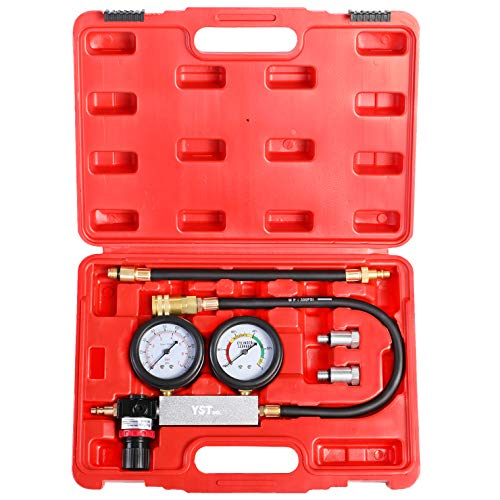 YSTOOL Dual Gauges Cylinder Leakage Tester Kit Professional Cylinder Leak Down Detector Engine Compression Test Gauge Set for Automotive Gasoline Engine with 10 12 14mm Spark Plugs 0-100psi