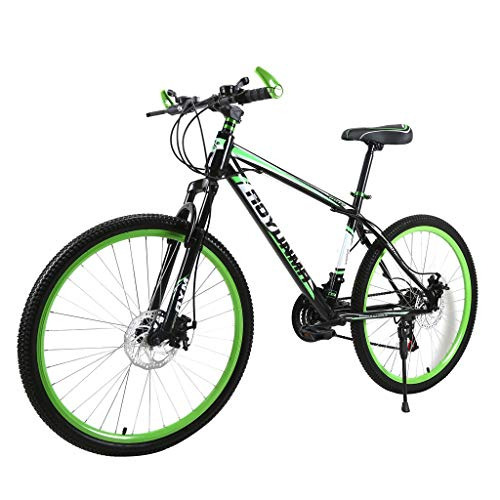 cobcob Mountain Bike, 21 Speed 26 inch Full Dual-Suspension Mountain Bike Bicycle Outdoor Cycling Lightweight Aluminum for Men/Women-Multiple Colors Dual Disc Brakes (Green)