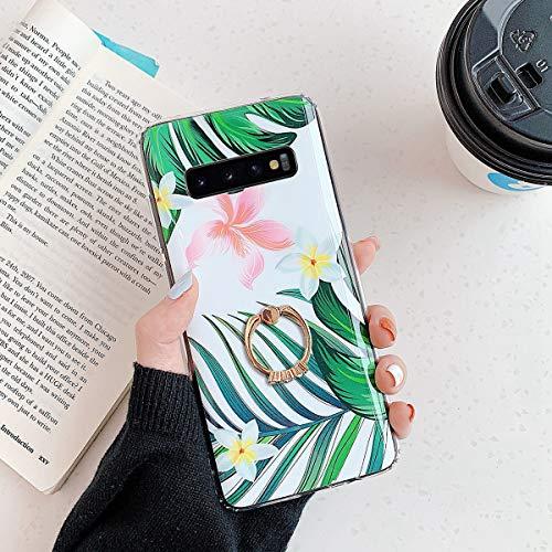 Herbests Kompatibel mit Samsung Galaxy S10 Handyhülle Case Blumen Blätter Muster TPU Silikon Hülle mit Ring Halter Ständer Schutzhülle Ultradünn Tasche Rückschale Stoßfest Case,Grün Blätter