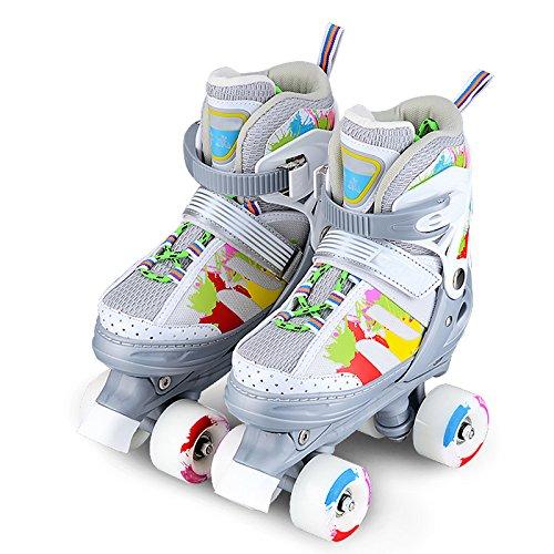 ZCRFY Training Zweireihige Rollschuhe Mädchen Größenverstellbare Schuhe Rollschuhe Kinder Erwachsene Kinder Jungen Atmungsaktive Rollschuhe Für Anfänger Kleinkinder Kinder Inlineskates,Grey-M