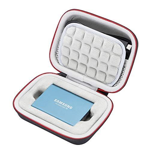 Hard Case für Samsung T5 / T3 / T1 tragbare 250 GB 500 GB 1 TB 2 TB SSD USB 3.0 Externe Solid-State-Laufwerke, Reisetasche mit Aufbewahrungstasche - Schwarz (graues Futter)