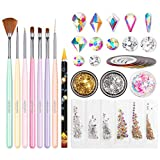 Nail Art Brushes Set, Beetles Gel Nail Polish Nail Accessories with Nail Pen, Crystal Rhinestone, Nail Foil, Butterfly Glitter Sequins for Nail Design Home DIY Manicure Set