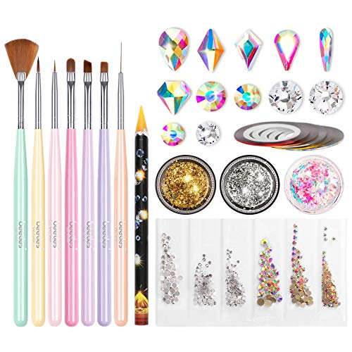 Beetles Nail Art Brushes Set, Gel Nail Polish Nail Accessories with Nail Pen, Crystal Rhinestone, Nail Foil, Butterfly Glitter Sequins for Nail Design Home DIY Manicure Set