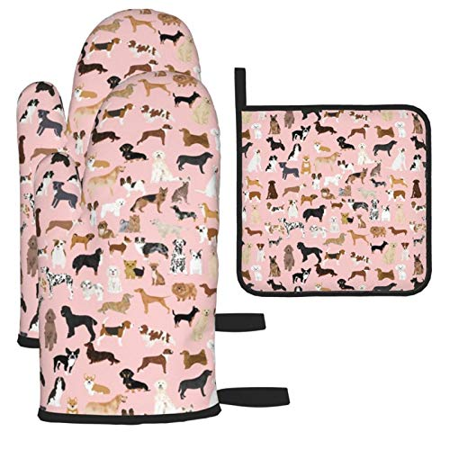 Oven Mitts and Pot Holders 3pcs Set,Dogs Pink Cute Dog Best Dog Breed Pattern Dog Double Oven Mitts with Cotton Lining and Non-Slip Surface for Cooking set Baking Grilling Barbecue Microwave Gauntlet