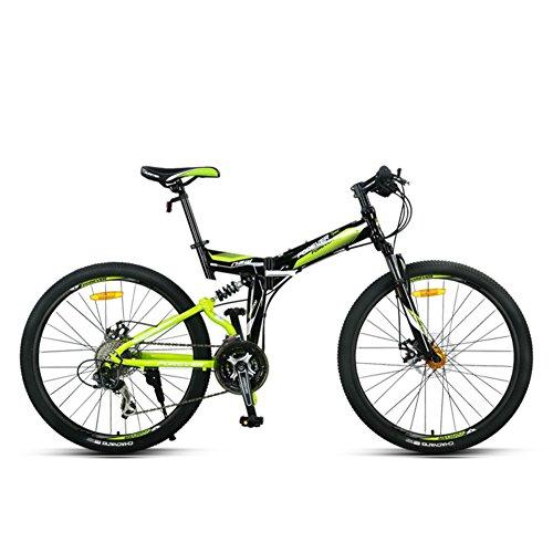 YEARLY Montagna bici pieghevole, Adulti bici pieghevole Uomo Off-road Doppio ammortizzatore Mtb Coda morbida 27 velocità Shimano Bicicletta pieghevole-nero 26inch