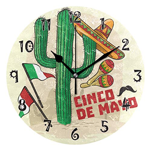 JUMBEAR México Cactus Cinco De Mayo Reloj de pared silencioso sin tictac, funciona con pilas, diseño preciso de números arábigos, decoración del hogar para cocina, sala de estar, 25 cm
