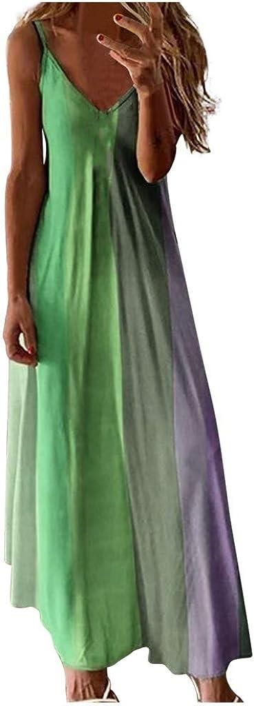 ZSBAYU Women's Maxi Long Dress Loose V-Neck Slim Tie-dye Stripe Print Sleeveless Summer Casual Plus Size Dress