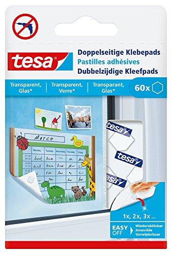 tesa® Doppelseitige Klebepads (zum Befestigen von Leichtem auf transparentem Untergrund)