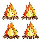 Centro decoración llama artificial, 4 Piezas Papel Llama Falsa, Artificial Llama Falsa Fuego, Papel Artificial Llama Falsa Fuego, para Decoración Fiesta Fogata