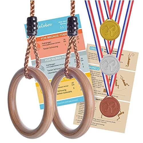Kleintober Premium Holz Turnringe für Kinder & Erwachsene, Outdoor & Indoor, Ringe mit verstellbare Höhe, mit Anleitung für Fitness & Sport und Medaillen für Motivation