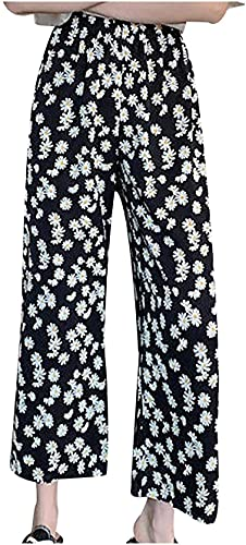 Ourjsncvns Loose Wide Leg Pants for Women Printed High Waist Straight Pant, Ladies Baggy Full-Length Casual Trousers