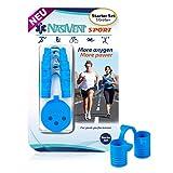 NASIVENT Sport - Premium Nasendilatator - verbesserte Nasenatmung - Nasenspreizer - einzigartig dank innovativer Haltezapfen - aus hochwertigem Silikon - (Starter Set) Sky Blue