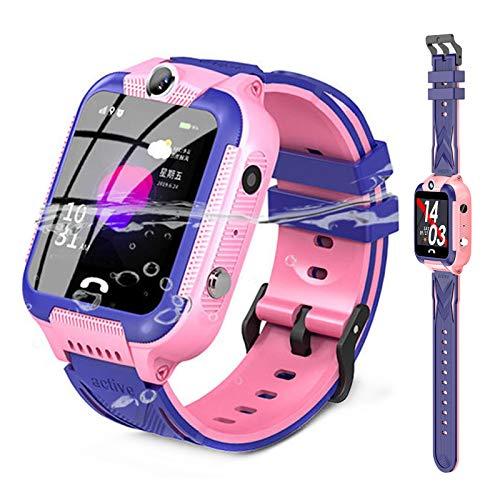 HQPCAHL Smartwatch para Niños Reloj Inteligente Niños Teléfono con 1.44 Pulgadas Pantalla Táctil GPS Llamada SOS Cámara Linterna Alarma Reloj Regalo,Rosado