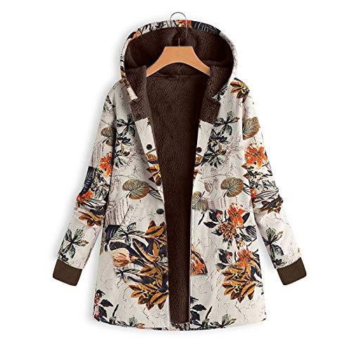 Katenyl Chaqueta gruesa con capucha informal de talla grande con estampado de flores retro a la moda para mujer abrigo de felpa cálido de un solo pecho ajustado L