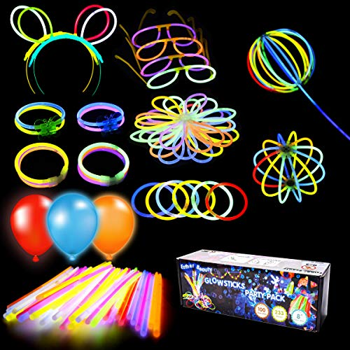 "228 Pieces 8"" Glow Sticks Bulk Party Set, Connectors for Bracelets Necklaces Balls Eyeglasses and More, Christmas Halloween Party Supplies, 8 Colors"