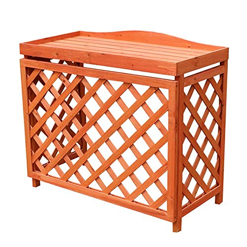 Patios Multi-Function Wooden Air Conditioning Rack,Flower Stand,Outdoor Air Conditioner Outer Cover,Grid Plant Storage Rack (Brown, Orange) (Color : Orange)