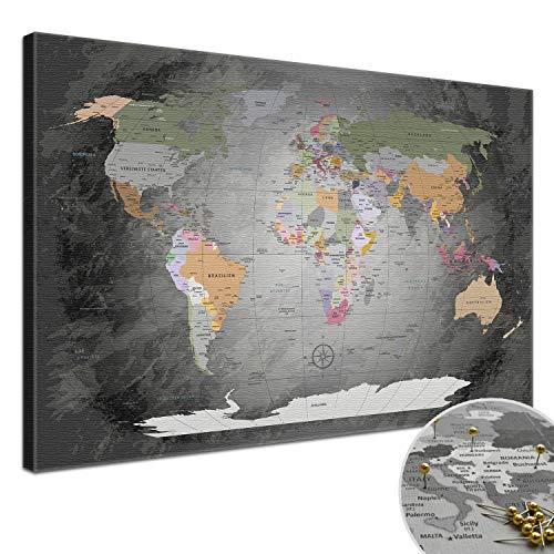 LanaKK Mappa del Mondo con Tappo di Sughero per Le Destinazioni Pinning, Mappa del Mondo Prezioso Grigio, German, Stampa Artistica Bordo di Sughero in Grigio, 1 Pezzo, 100 X 70 Cm