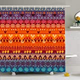Cortinas de baño/Bath Curtain, Shower Curtains 72 x 78 Inches Color Tribal Jackets Envelopes Furniture Moroccan Peru Africa Aztec Summer Indian Drawing Waterproof Fabric Bathroom Home Decor Set Hooks