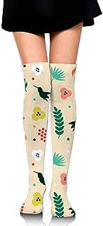 Calcetines de tubo estampados con estampado tropical para mujer Medias altas hasta el muslo hasta la rodilla para niñas 65cm / 25.6 '