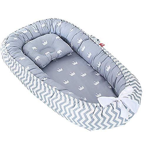 Nido de bebé, cuna para bebé recién nacido, 100% algodón, transpirable, suave y portátil, para dormitorio o viaje Corona gris.