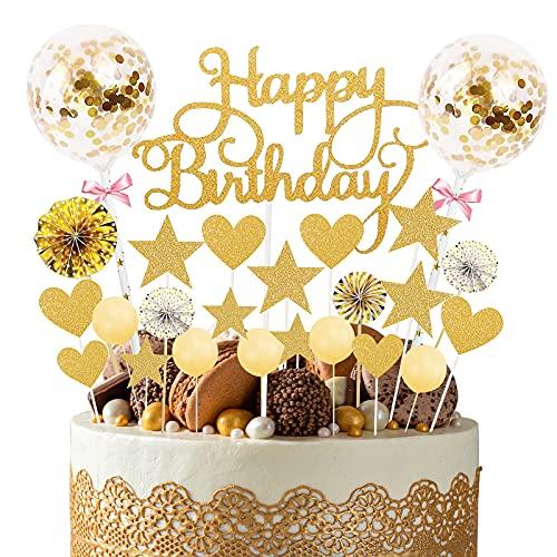 YUQIN 25 pièces Décorations de gâteau d'anniversaire,Gâteau Anniversaire Topper,Decoration Gateau Anniversaire Fille,Decor Gateau Happy Birthday,pour Enfants fête d'anniversaire (d'or)