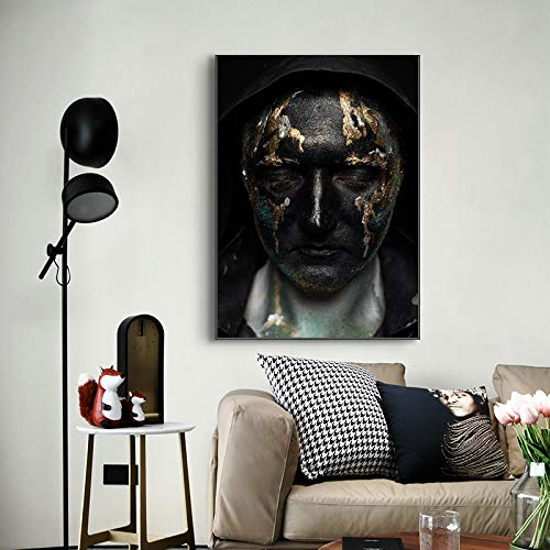 Domrx Canvas Painting Black Golden Man Cool Male Posters and Prints Wall Art Picture for Living Room Nordic Modern Home Decor-40x60cm No frame