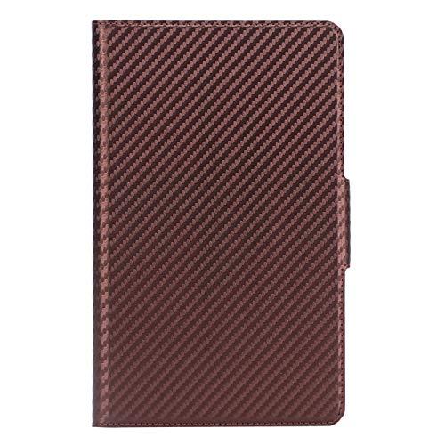 ISIN Premium Carbonfaser Textur Schutzhülle Cover für Huawei Mediapad M6 8 8.4 2019 VRD-AL00 VRD-W09 VRD-AL09 (Nicht für M5 8.4, M3 8.4,M6 10.8) 8,4-Zoll-Android-Tablet-PC(Braun)