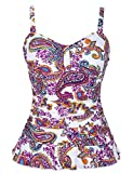 Hilor Women's 50's Retro Ruched Tankini Swimsuit Top with Ruffle Hem Red Paisley 10