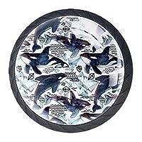ドレッサー引き出し用キャビネットノブ4つホームオフィス用キャビネットハンドルプル食器棚シャチ水彩北極氷