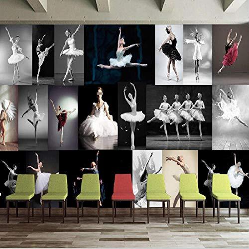 XLXBH 3D-behang zelfklevend wandschilderij fotobehang 3D modern minimalistisch dansstudio ballet yoga studio wandschilderij schimmel wanddecoratie wandschilderij behang, kinderkamer kantoor eetkamer woonkamer 400x280 cm (BxH) 8 Streifen - selbstklebend
