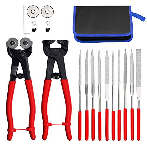 SPEEDWOX 20PCS Mosaic Cutting Tools Nippers with Replacement Cutting Wheel Titanium Coated Diamond Needle File Set 180mm Total Length for Metal Glass Ceramic Carving Leather Zipper Bag