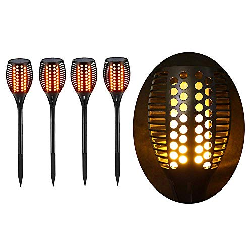 Torche LED Extérieur étanche & Solaire - Décoration de Jardin - Effet Flamme - Lot de 4