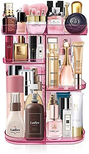ZXC Organizador de maquillaje, caja de almacenamiento multifunción giratoria de 360° con 4 bandejas ajustables, para lápices labiales, brochas de maquillaje, perfumes y mucho más, vino tinto
