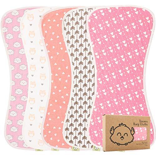 BurpCloths bio pour bébés garçons et filles - Paquet de 5 Ultra Absorbant - Serviette nouveau-né - Lait cracher des chiffons - Bavoir Burpy pour Unisexe, Garçon, Fille (Pink Dreams)