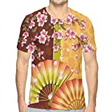 HHOWE Men's 3D Printed T Shirts,Sakura Blooms with Japanese Hand Fan Figures Authentic Asian Design Theme L