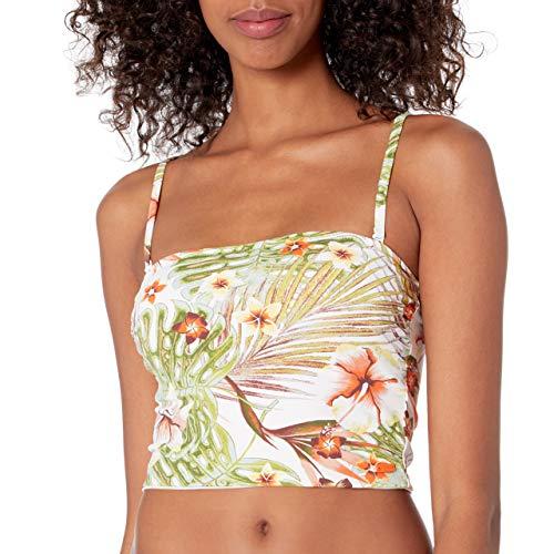 Roxy Junior's Printed Beach Classics Tank Bandeau Swimsuit Top, Bright White HERBIER S, S
