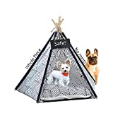 Cat Teepee Tent, Cute Little Dog Teepee Bed, Safe Tipi pet Tent with Thick mat, Whole Piece Natural Wood Pole, No Joints, Portable Dog & Cat Houses, Small Dog & Cat House (Diamond)