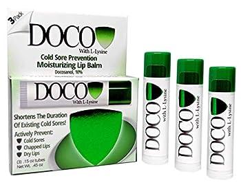 DocoShield Cold Sore Prevention Lip Balm w/Docosanol and Lysine  3-Pack