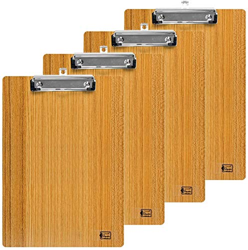 Uquelic 4Pcs Portapapeles A4 con Pinza/Tableros con Pinza/Carpetas con Pinza Madera Portapapeles de Oficina A4 Impermeable Clipboard A4 con Hanging Hole