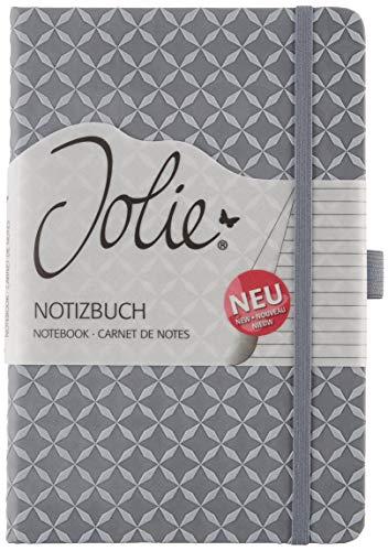 SIGEL JN127 Notizbuch Tagebuch Jolie, ca. A5, liniert, Hardcover, Gummiband, Stifteschlaufe, Einsteckfach, grau, für Frauen und Mädchen - viele Modelle