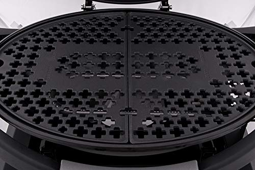 Kuhn Rikon VK9000 Tabletop Outdoor Gas Barbeque | 2-Part Cast Iron Central Grill with Enamel Coating | Removable Side Shelves, Black