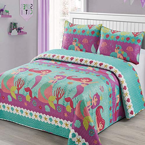 3pc Full Queen Size Quilt Bedspread Kids Teens Mermaid Dolphin Under The sea Branches Sea Life Purple Pink Teal Girls Multicolor Bedding New