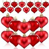 HOWAF 24 Pezzi San Valentino Cuore Palline Ornamenti Albero di Natale Palline a Forma di Cuore Decorazione da Appendere per Anniversario di Matrimonio San Valentino, Lucida, Rossa