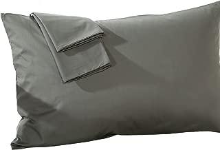 Travel Pillow Case 12x16 Size Natural Cotton Zipper Pillow Cases Set of 2 Travel Pillowcase 600 Thread Count 100% Egyptian Cotton 2 Pack, Toddler Pillowcase Dark Gray Solid Zipper Closer