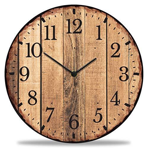 GRAVURZEILE Wanduhr aus Holz Nature Love - 100% Lautlos kein Ticken absolut geräuschlos - 30 cm Ø - Design Wanduhren für Wohnzimmer Schlafzimmer & Küche