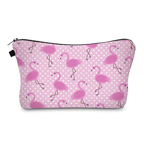Bonamana Einhorn Flamingo Muster Große Kapazität Bleistift Tasche Kulturbeutel Kosmetik Make-up Tasche Tasche Organizer für Reise (Flamingo)