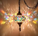 (8 Colors) DEMMEX Turkish Moroccan Mosaic Swag Plug in Pendant Ceiling Hanging Light with 15feet Cord Decorated Chain & North American Plug (Multicolor - 6' Diameter)