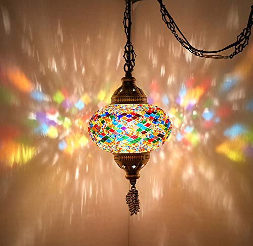 (8 Colors) DEMMEX Turkish Moroccan Mosaic Swag Plug in Pendant Ceiling Hanging Light with 15feet...
