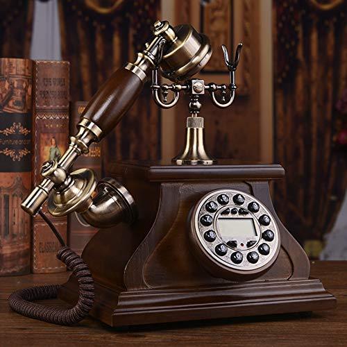 Cajolg Teléfono Fijo Retro Teléfono Antiguo de Madera Maciza Teléfono Antiguo Europeo Teléfono Retro con Cuerpo de Madera y Metal para decoración de Oficina en casa