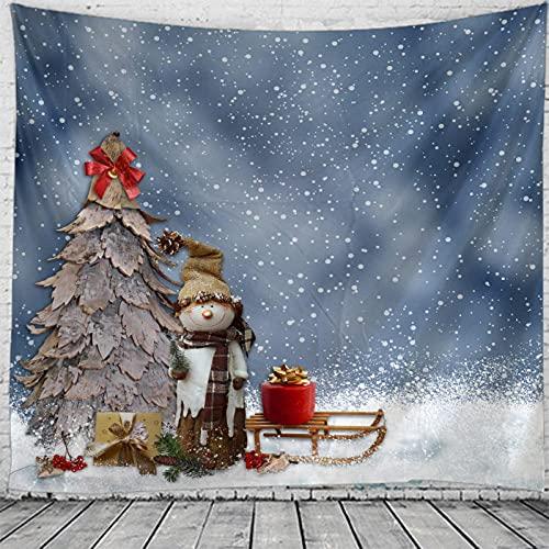 tapices de pared, tapices para colgar en la pared,Navidad árbol de Navidad muñeco de nieve regalo de copo de nieve año nuevo decoración del hogar manta mantel para dormitorio sala de estar Dorm